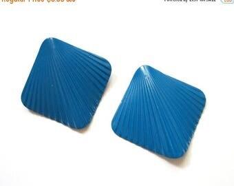 LAST CHANCE SALE Vintage Blue Shoe Clips Simple Square Medium Blue Shoe Clips Vintage Accessories