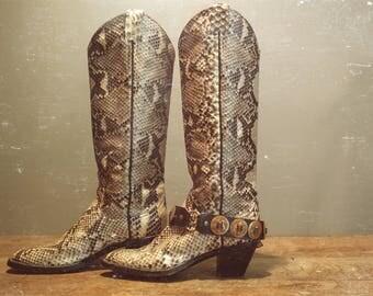 Vintage Leather Western Snakeskin Boots