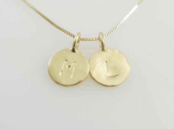 14k gold initials double initials pendant 2 letter charm like this item mozeypictures Images