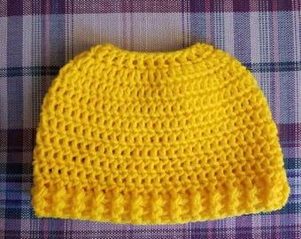 Crochet High Ponytail/Messy Bun Beanie Hat