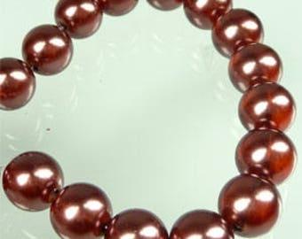 Ten Brown Maroon Pearl 8mm beads