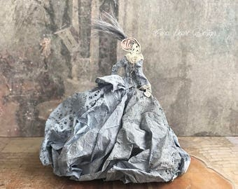 3D Fairytale Paper Doll with Gift Box - Paper Sculpture - Paper Art Doll - Dusky Blue Paper Dress  - Art Doll - 3 Dimensional Paper Doll