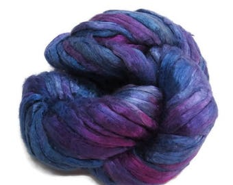 SALE Mulberry Silk roving, hand dyed purple/blue