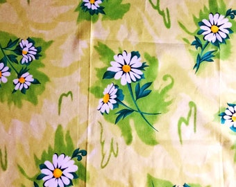 70s swedish vintage fabric. Mod floral print. Scandinavian design sewing fabric hippie fabric green fabric cotton fabric