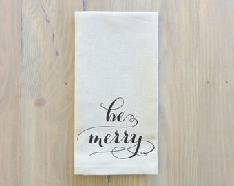 Be Merry Napkin_Christmas, table setting, tableware, place setting, housewarming gift, party, dinner, event