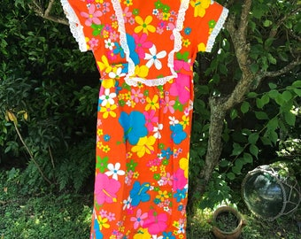 60's fluorescent floral print bark cloth girls maxi dress by Mukai Fashions made in Hawaii