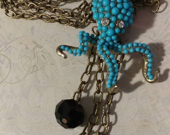 Teal octopus necklace