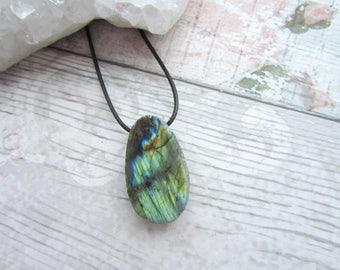 Green Yellow Labradorite Seer Stone Pendant - Polished Gemstone Ema Egg Pendant - Black Cord