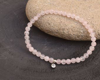 Rose quartz bracelet, Pink beaded bracelet, Rose quartz jewelry, Love bracelet, Gemstone bracelet, Gift for her, Dainty bracelet