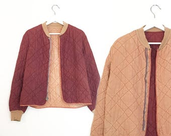 vintage reversible peach maroon quilted satin jacket XS / S / M