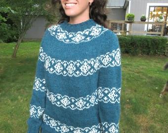 Womans handknit fair isle blue/green wool sweater