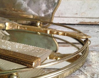 ClearanceOutOfBusiness vintage oval Art Deco vanity tray,1940s vanity,oval mirrored vanity tray,gilded tray,coffee or tea tray,plant tray,wa