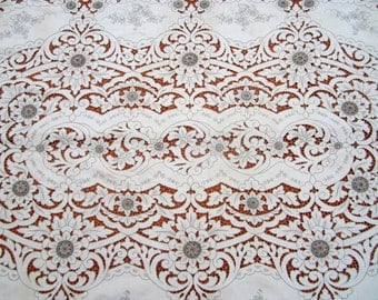 Vintage handmade linen embroidered and cutwork tablecloth