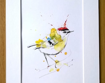 Firecrest - A5 Wildlife Print in Colour-burst with Intricate Detailing in Fineliner and Watercolour in Mount