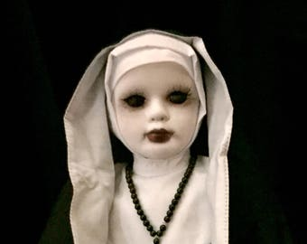Sister Bette Noire Original Porcelain Undead Nun Faith In The Darkness Horror Goth Beautiful Sinner Biohazard Baby