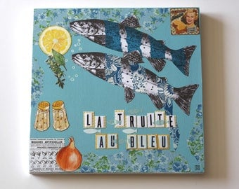 """Blue trout"" kitchen table"