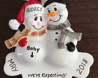 Expecting Pregnancy Personalized Christmas Ornaments / New Parents / Family Ornament / Baby Bump / Pregnancy Ornament / Family of 2