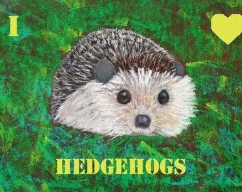 Hedgehog fridge magnets - hedgehog gift - hedgehog print - hedgehog picture - hedgehog nursery - hedgehog painting -hedgehog art - hedgehog