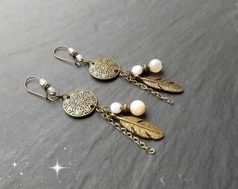 "Earrings ""millie"" carnelian beads, Crystal"