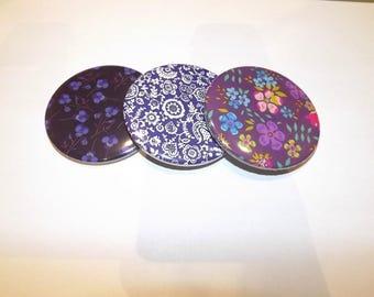 """purple/blue tone liberty print Pocket mirror"""