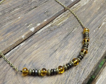 """ambrosia"" Czech glass and brass necklace"