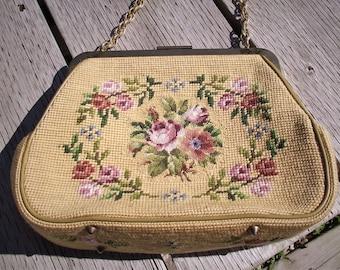 VINTAGE LADIES PURSE,Handbag,Pocketbook,Embroidered Ecru Handbag,Ladies Accessories,Purses and bags,Vintage Accessories,Embroidered Purses