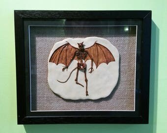 OOAK fossil fae creature with wings, horn and tail.  Faerie. Fairy. Goth. Wiccan