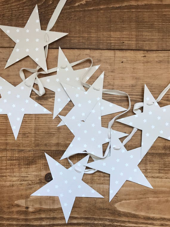 tan star print bunting/ garland