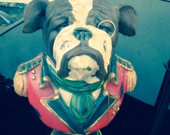 Dog British bull dog head with monocle