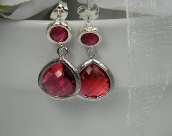 Glass Red Bridesmaid post Earrings Scarlet Red Earrings short Drop Dangle Earrings Red Wedding Earrings Ruby Earrings Ali4 - Message