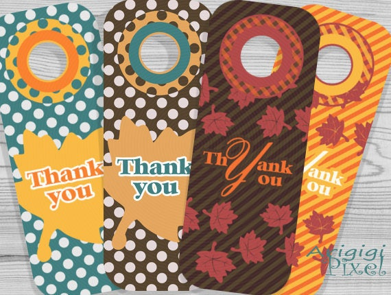 Thank you printable wine tag - bottle gift tag, Thanksgiving printables, fall leaves, polka dots, autumn colors, download