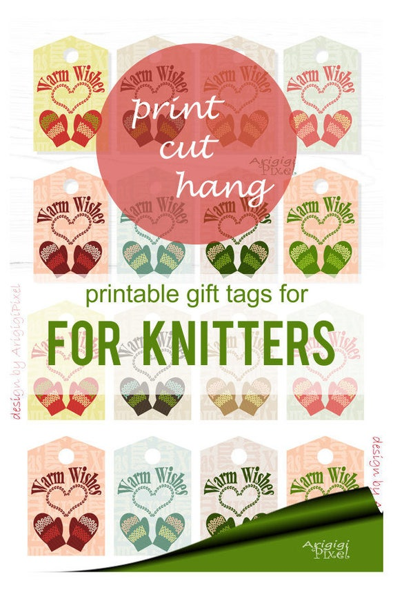 Printable Warm Wishes gift tags -  knitted mittens & hearts - Christmas stocking tag