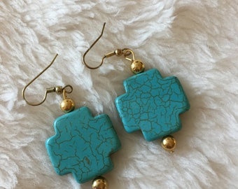Christian Turquoise Cross Earrings With Gold Tone Beads
