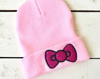 Hello Kitty Applique BOW Beanie Embroidered Slouchy Hat Custom Beanies Kawaii Hat Glitter Bow
