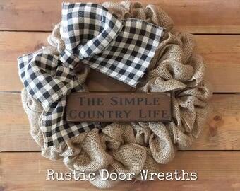 Burlap Wreath / Country Wreath / Front Door Wreath / Primitve Wreath / Buffalo Check Wreath / Wood Sign Wreath
