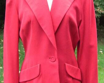Vintage 1940's BOND Red Wool Gabardine Women's Tailored Deco Suit Jacket Blazer