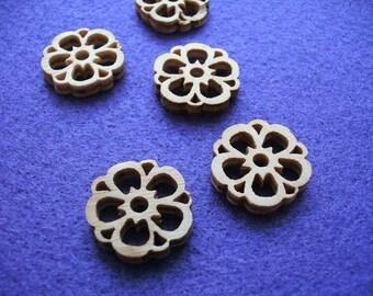 10 flowers, wood, 2 cm (01-0004C)