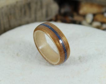 Koa Wood Ring with Maple & Blue Lapis Inlay.  Bent Wood Ring, Wooden Wedding Ring, Mens Wooden Ring, Wood Engagement Ring, Wooden Mens Rings