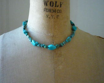 Vintage Native American Southwestern Natural Untreated Turquoise Nugget Choker Necklace