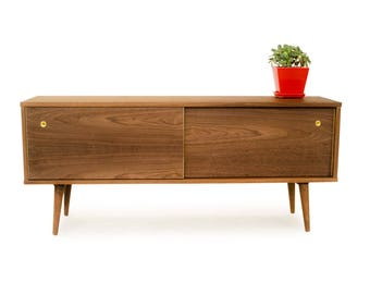 Credenza with Sliding Doors - Mid Century Modern - Solid Wood Media Console - Danish Modern Design