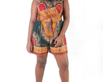 Lego Dashiki Jumpsuit | Dashiki Romper | Ankara Romper | African Prints Jumpsuit | Waxi Prints Jumpsuit