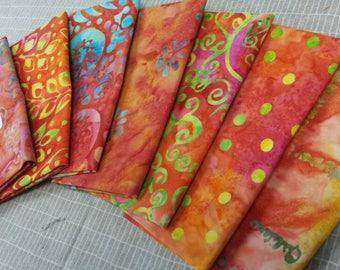 Batik textiles fat 1/8 bundle of 7 orange