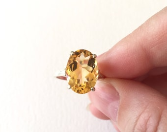 Citrine Oval Sterling Silver Ring