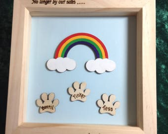 Rainbow Bridge, Pet Memorial, Pet Loss - Box Frame with rainbow and personalised pawprints