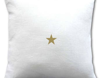 White linen, gold star pillow cover