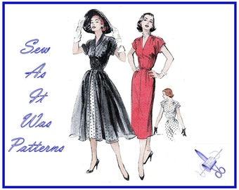 "1950s FF Unused Butterick 6048 Sheath Short Sleeve Dress Flared Coat Redingote Kimono Sleeves Vintage Sewing Pattern Size 14 Bust 32"" 83cm"