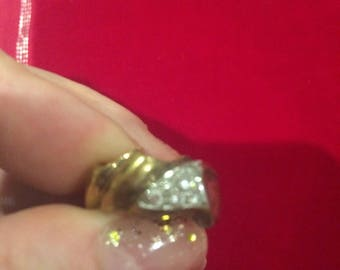 Silver and gold plated funky statement ring