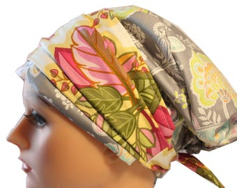Scrub Hat Cap Chemo Bad Hair Day Hat  European BOHO Banded Pixie Tie Back Lacy Grey Floral Band 2nd Item Ships FREE