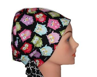 Scrub Hat Surgical Scrub Cap Chemo Vet Nurse Dr Hat Pixie European Style Bright Owls 2nd Item Ships FREE