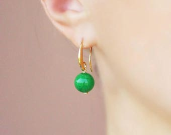 Green Agate Earrings Green Gold Earrings Classic Earrings Green Earrings Small Earrings Agate Earrings Bright Green Earrings Agate Jewelry